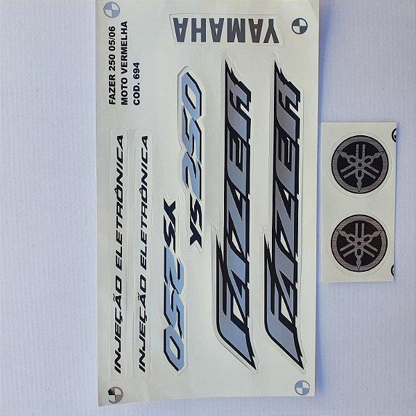 Faixa Yamaha Fazer 250 2005/06 Moto Vermelha Cod 694
