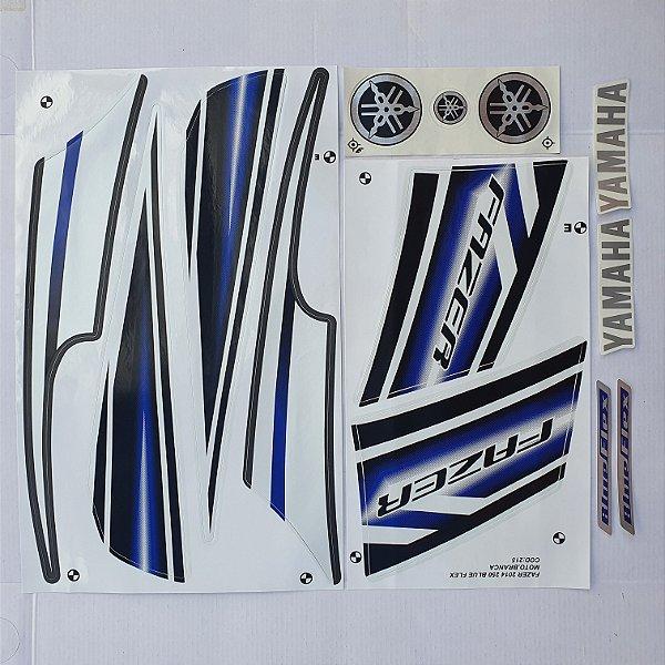 Faixa Yamaha Fazer 250 Blue Flex 2014 Moto Branca Cod 215