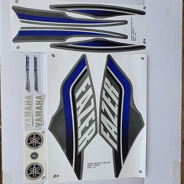 Faixa Yamaha Fazer 250 Blue Flex 2015 Moto Preta Cod 221