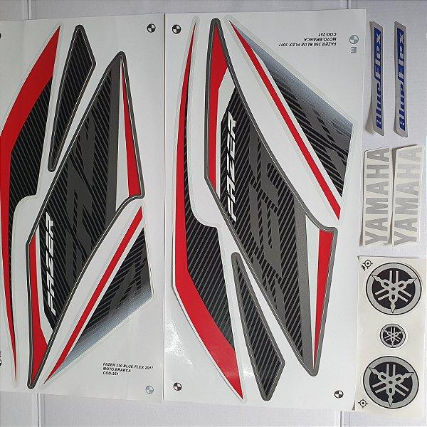 Faixa Yamaha Fazer Blue Flex 250 2017 Moto Branca Cod 251