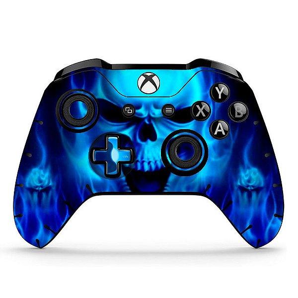 Sticker de Controle Xbox One Skull Flame Blue