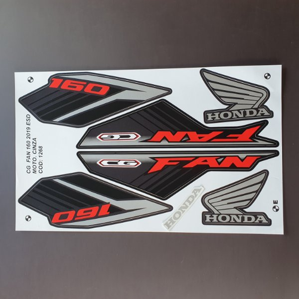 Faixa Honda CG 160 Fan ESD 2019 Moto Preta Cod 1269