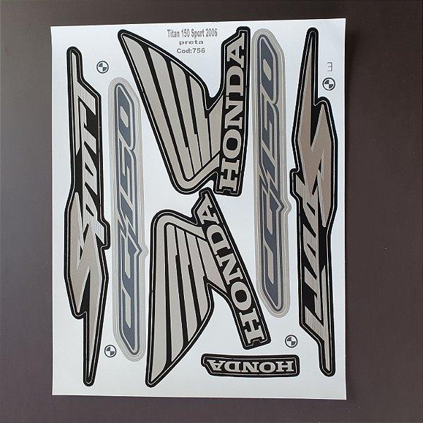 Faixa Honda CG 150 SPORT 2006 Moto Preta Cod 756