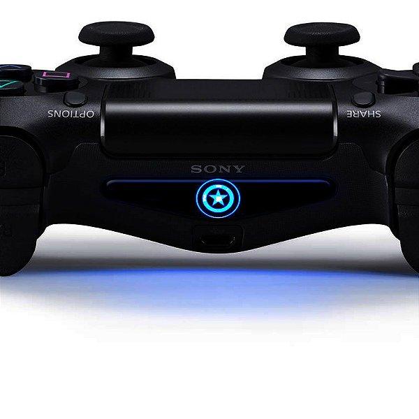 Adesivo Light Bar Controle PS4 Captão América Escudo Mod 01