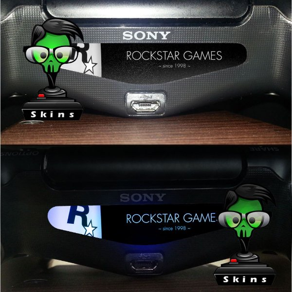 Adesivo Light Bar Controle PS4 Rockstar Mod 02