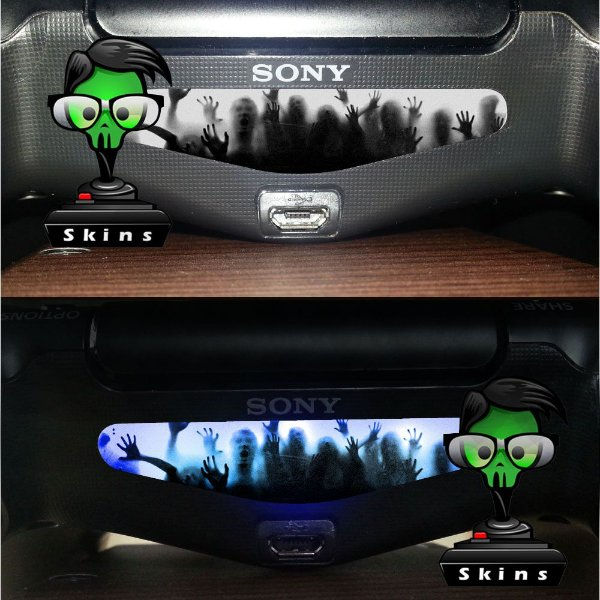 Adesivo Light Bar Controle PS4 Zombies Mod 01