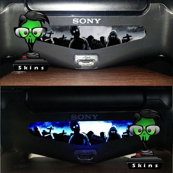 Adesivo Light Bar Controle PS4 Zombies Mod 02