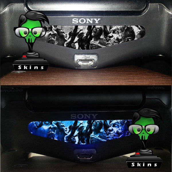 Adesivo Light Bar Controle PS4 Zombies Mod 03