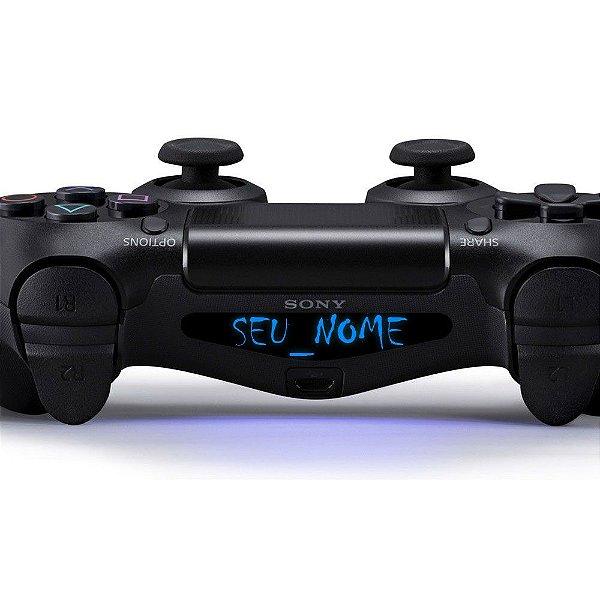 Adesivo Light Bar Controle PS4 Seu Nome Personalize Mod 04