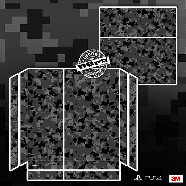 Adesivo para Console Ps4 Fat Camuflado Pixel Cinza