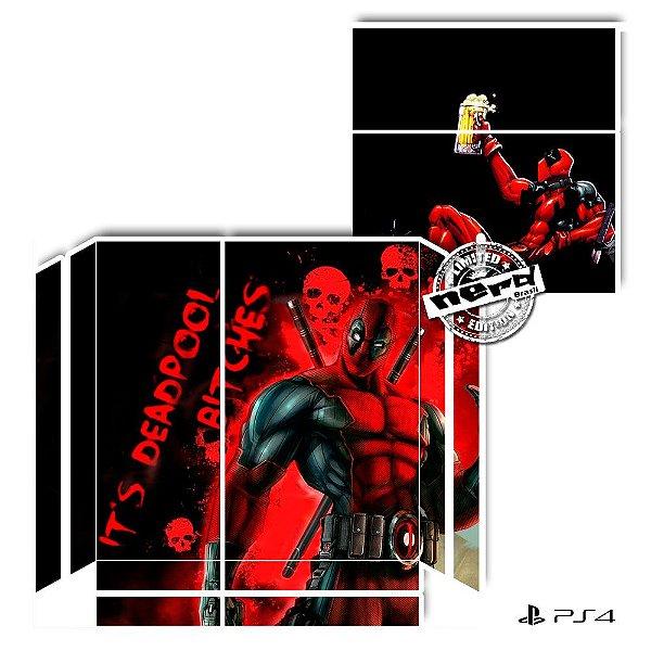 Adesivo para Console Ps4 Fat Deadpool