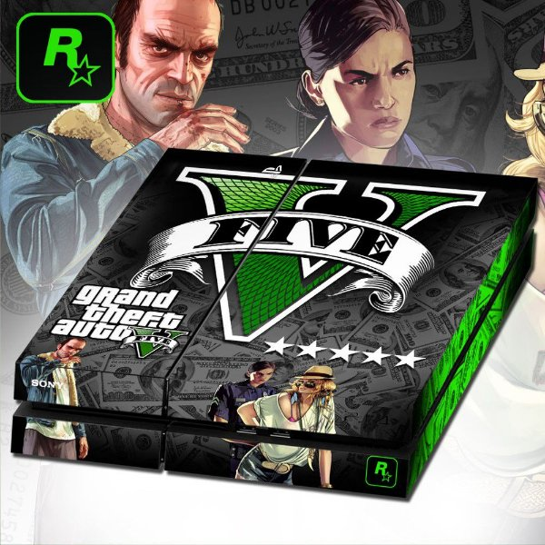 Adesivo para Console Ps4 Fat GTA Five Dollar Edition