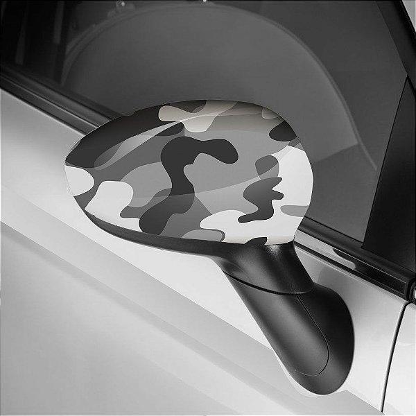 Adesivo para Envelopamento de Retrovisor Camuflado Cinza