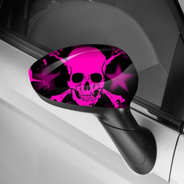 Adesivo para Envelopamento de Retrovisor Skull Pink