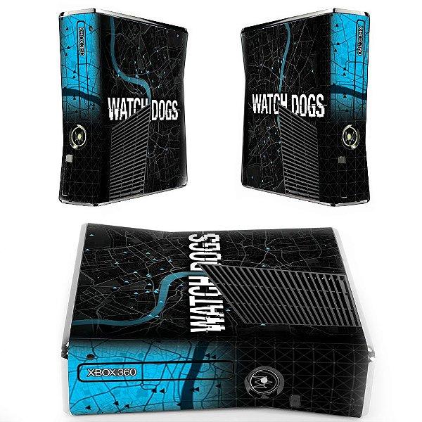 Skin Console XBOX 360 Slim Watch Dogs Mod 2