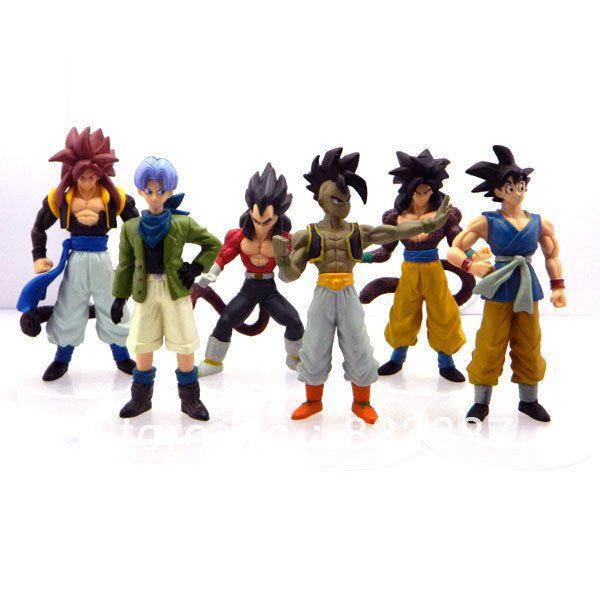 Dragon Ball Gt - Kit 6 Bonecos Goku Ssj4 Vegeta Ssj4 Uub