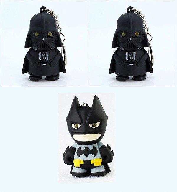 3 Chaveiros Batman & Darth Vader- 2 Darth Vaders + 1 Batman
