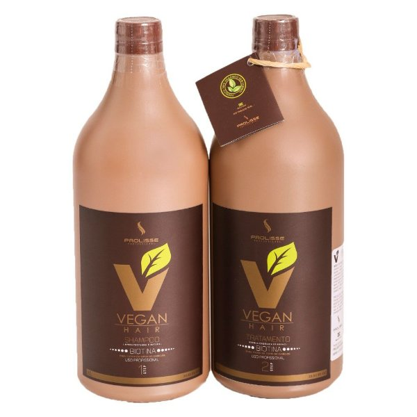 Kit Escova Progressiva de Biotina VEGAN HAIR 100% Vegana - 0% Formol - Kit 1000ml