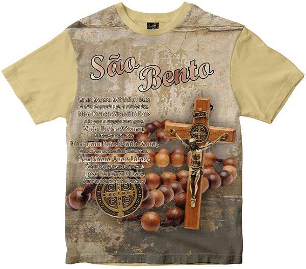 Camiseta São Bento com oração Rainha do Brasil