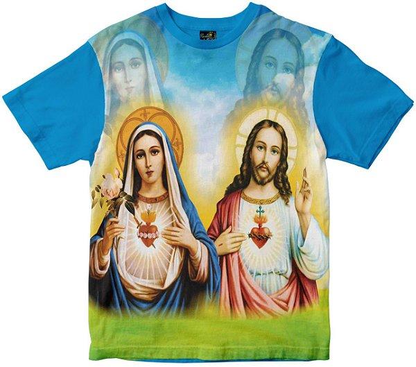 Camiseta Sagrado Coração de Jesus e Maria Rainha do Brasil