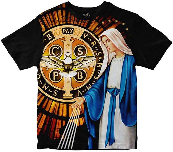 Camiseta Nossa Senhora das Graças e São Bento Rainha do Brasil