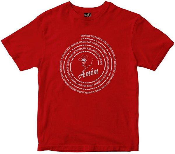 Camiseta Oração Pai Nosso vermelha Rainha do Brasil