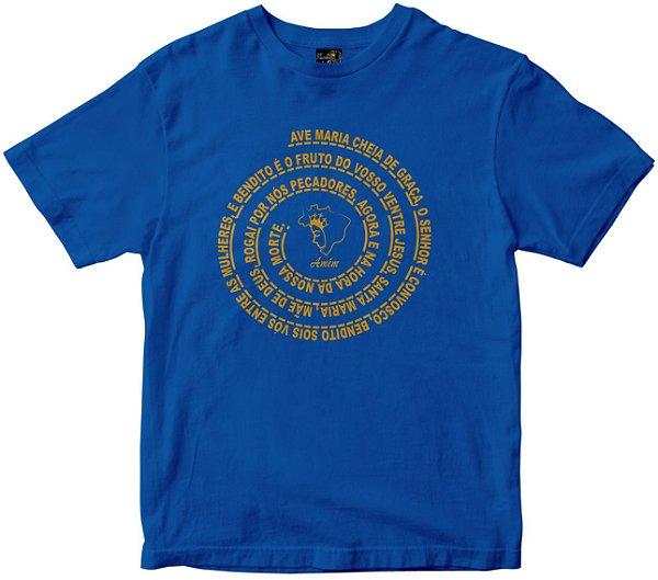 Camiseta Oração Ave Maria azul Rainha do Brasil