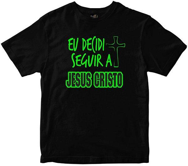 Camiseta Eu Decidi Seguir a Jesus Cristo preta Rainha do Brasil