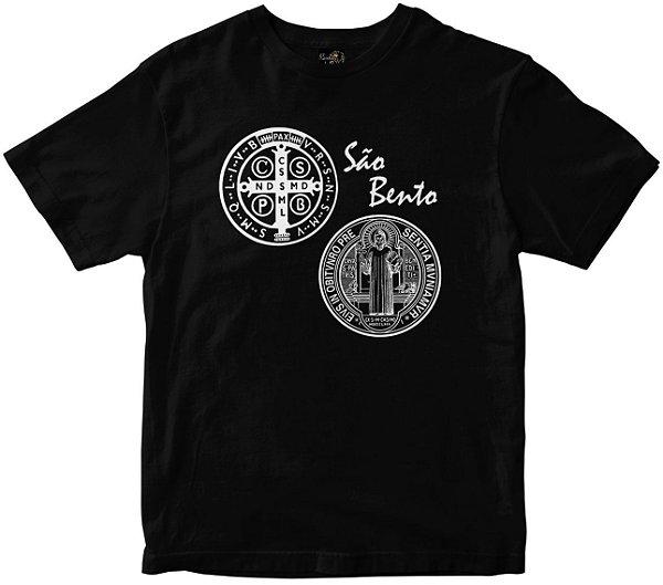 Camiseta São Bento com oração nas costas preta Rainha do Brasil