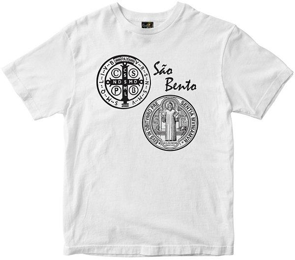 Camiseta São Bento com oração nas costas branca Rainha do Brasil
