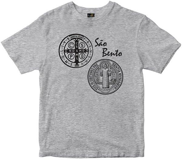 Camiseta São Bento com oração nas costas mescla Rainha do Brasil