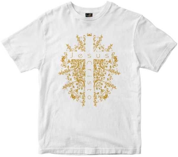 Camiseta Cruz de Jesus Cristo branca Rainha do Brasil