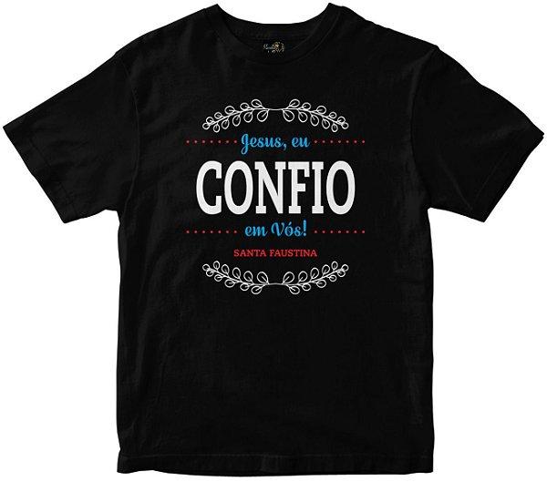 Camiseta Jesus Eu Confio em vós preta Rainha do Brasil