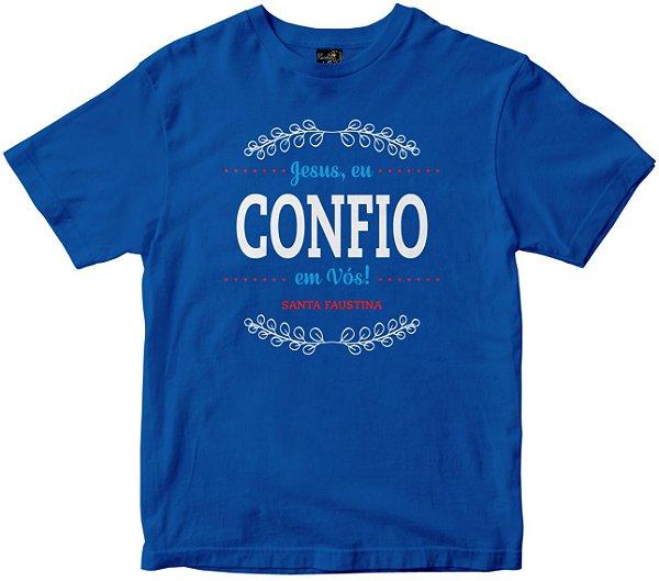 Camiseta Jesus Eu Confio em vós azul Rainha do Brasil