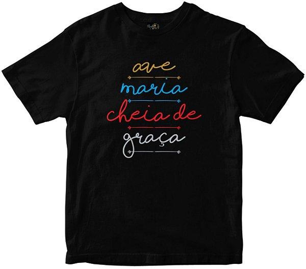Camiseta Ave Maria Cheia de Graça preta Rainha do Brasil