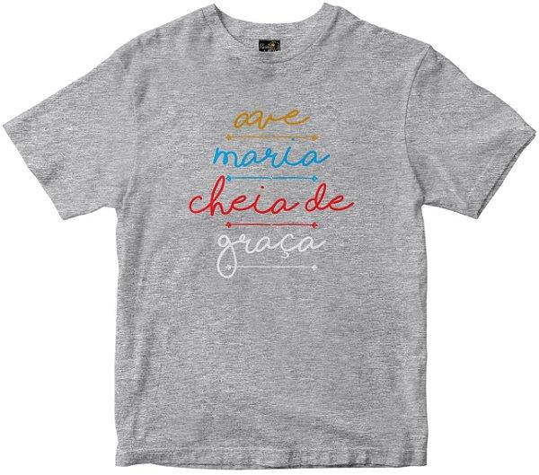 Camiseta Ave Maria Cheia de Graça mescla Rainha do Brasil