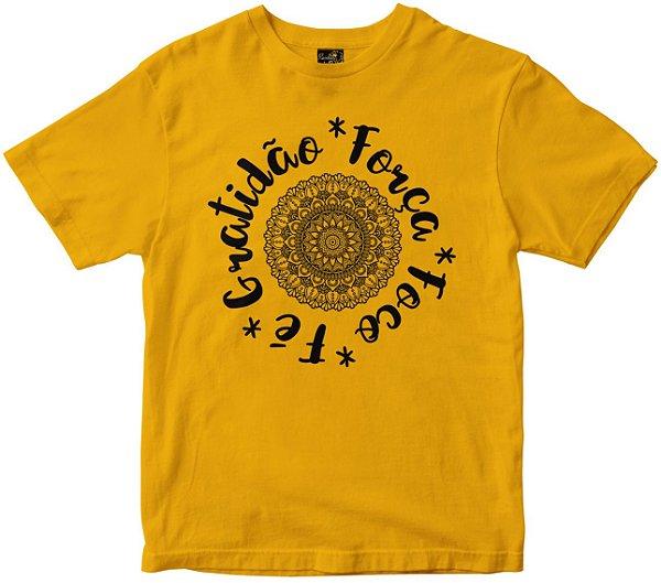 Camiseta Gratidão Força Foco e Fé amarela Rainha do Brasil