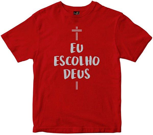 Camiseta Eu Escolho Deus vermelha Rainha do Brasil