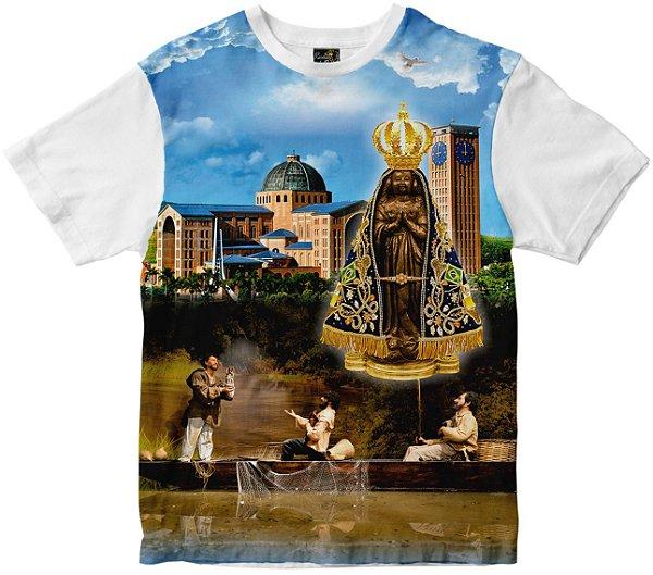 Camiseta Nossa Senhora Senhora Aparecida com pescadores Rainha do Brasil
