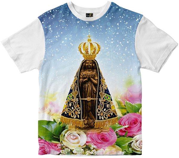 Camiseta N Senhora Aparecida flores Rainha do Brasil