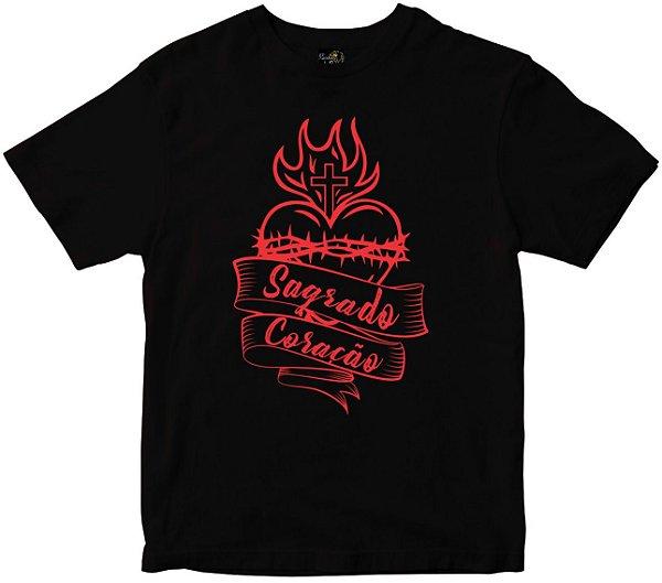 Camiseta Sagrado Coração preta Rainha do Brasil