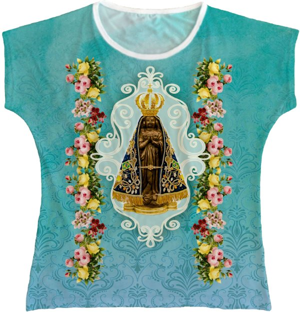 Blusa Feminina bata Nossa Senhora Aparecida Rainha do Brasil