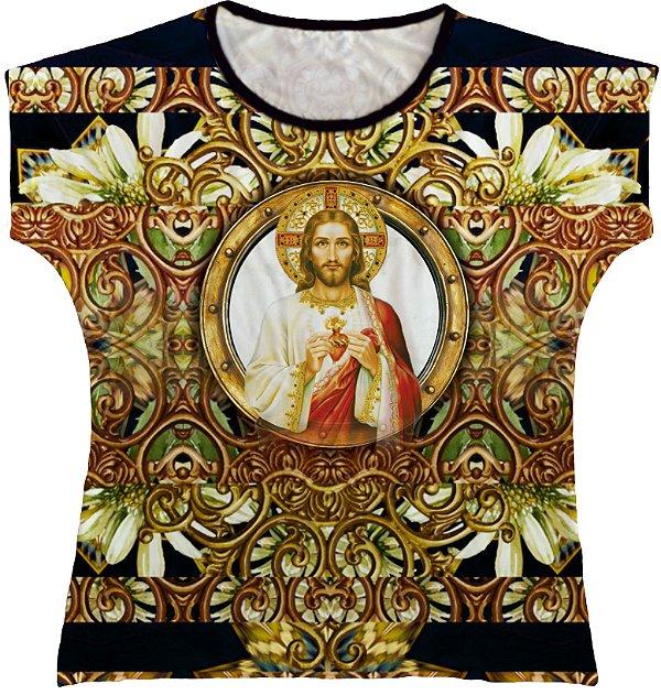 Blusa Feminina bata Sagrado Coração de Jesus Rainha do Brasil