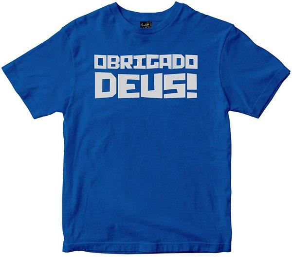 Camiseta Obrigado Deus azul Rainha do Brasil