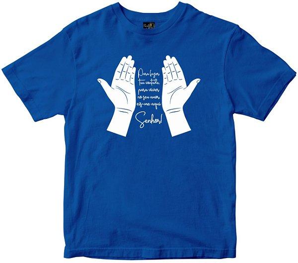 Camiseta Eis-me aqui Senhor azul Rainha do Brasil