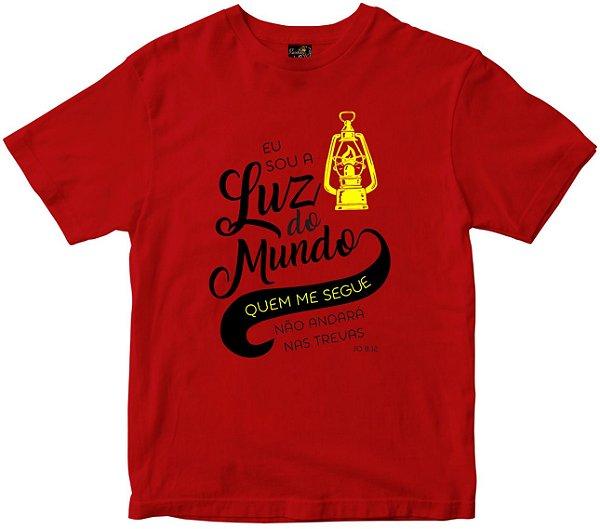 Camiseta Eu sou a luz do mundo vermelha Rainha do Brasil
