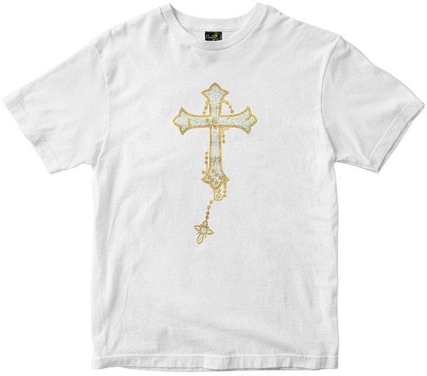 Camiseta Cruz que cai branca strass Rainha do Brasil