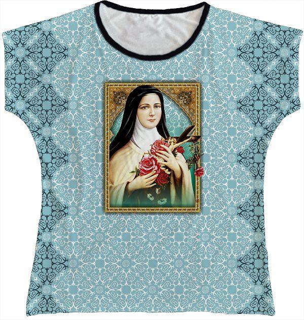 Blusa Feminina bata Santa Teresinha Rainha do Brasil