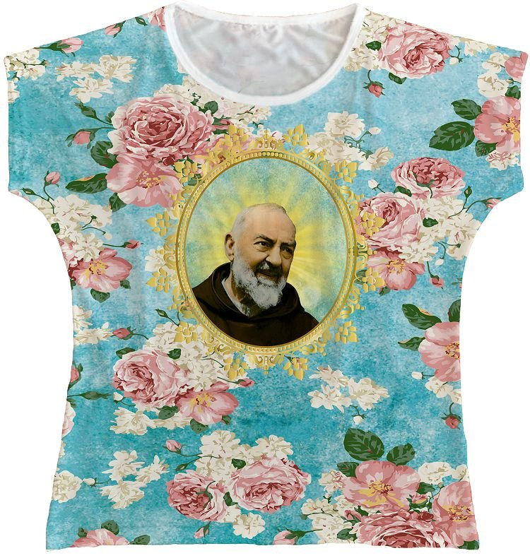 Blusa Feminina bata São Padre Pio Rainha do Brasil