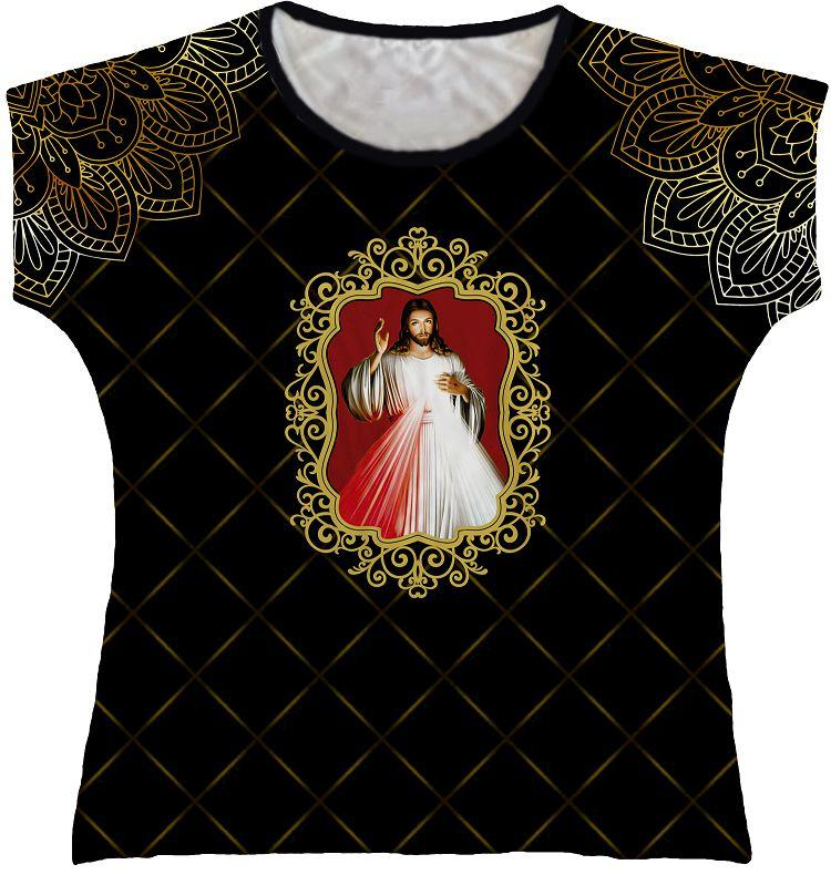 Blusa Feminina bata Jesus Misericordioso Rainha do Brasil